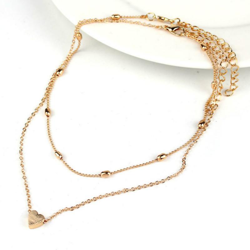 Женское Ожерелье золотого цвета, ювелирное изделие, ожерелье с сердечком и подвесками, чокер с двойной цепочкой, ожерелье с воротником, женское ювелирное изделие, подарок - Окраска металла: Gold-color