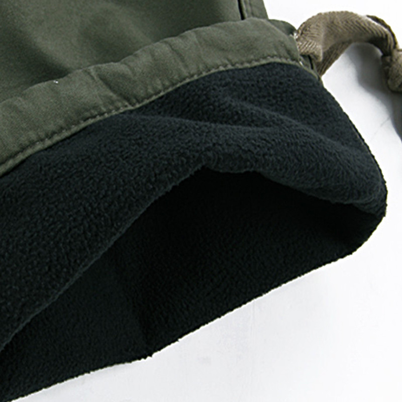 Mens Winter Pants Thick Warm Cargo Pants Casual Fleece Pockets Fur Trouser Plus Size 38 40 Fashion Loose Baggy Joger Worker Male 5