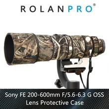 ROLANPRO 방수 렌즈 위장 코트 레인 커버 소니 FE 200 600mm F5.6 6.3 G OSS 렌즈 보호 케이스 나일론 건 천
