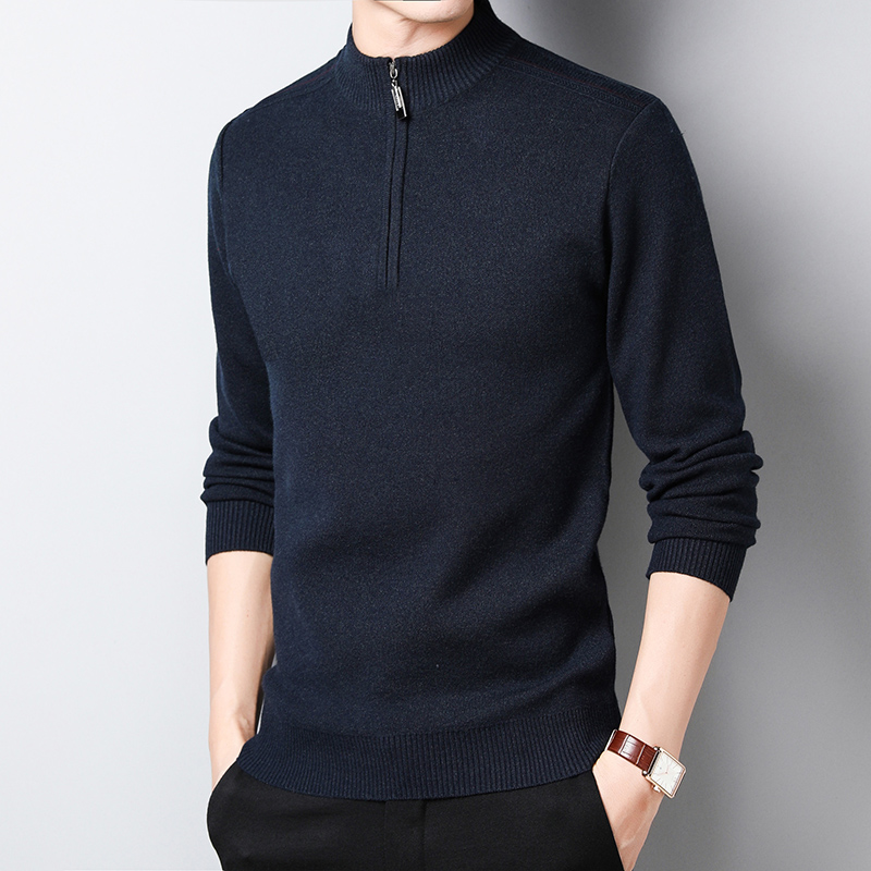 Fashion Sweater Mens Half Height Zipper Pullovers O-Neck Slim Jumpers Knitred Winter Thick Warm Korean Style Casual Male Clothes