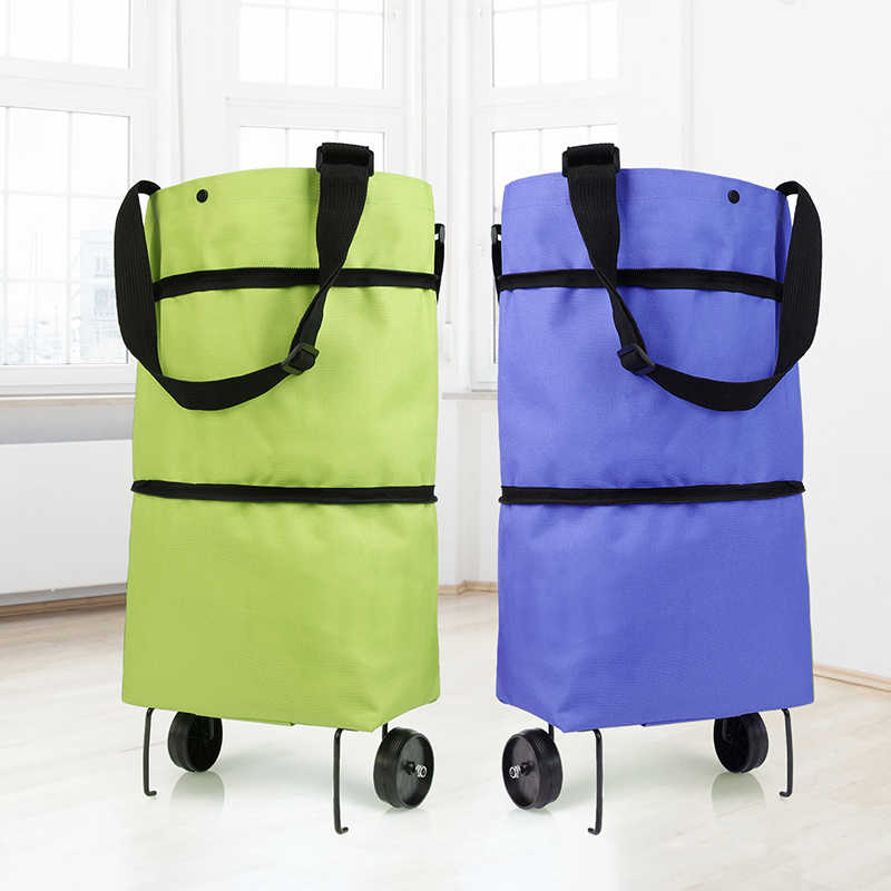 Foldable Portable Shopping Storage Bags Trolley Bag Food Grocery Cart On Wheels