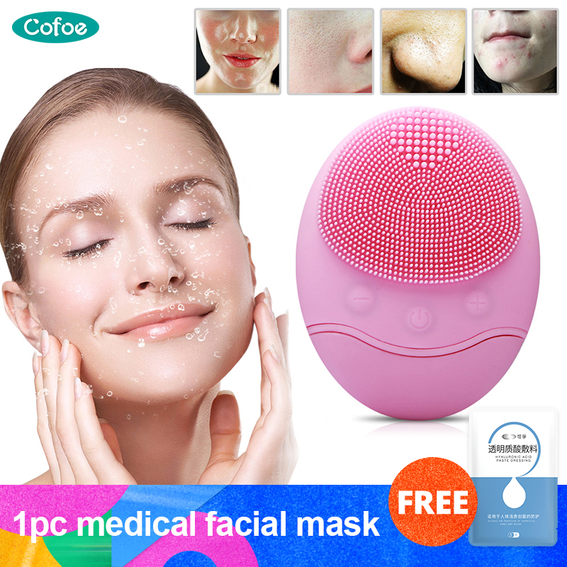 Cofoe Waterproof Electric Silicone Face Cleansing Instrument Ultrasonic Vibration Face Washing Brush Clean Pores &Facial Massage