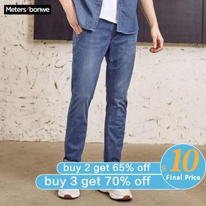 Image 1 - Metersbonwe Straight Jeans Mannen Lente Herfst Nieuwe Casual Jeugd Trend Slanke Jeans Heren Broek Mannen Broek