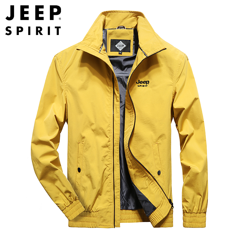 JEEP SPIRIT Original Autumn Jacket Men Windbreaker Rib Sleeve Spring Coat Men Plus Size M-4XL Long Sleeve Men Jacket