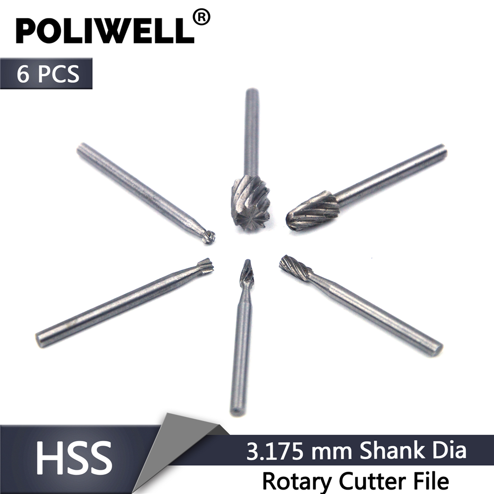 POLIWELL 6PCS Woodworking HSS Rotary Cutter File 3.18mm Shank Mini Grinding Head Drill Bits Power Tools Accessories Fit Dremel