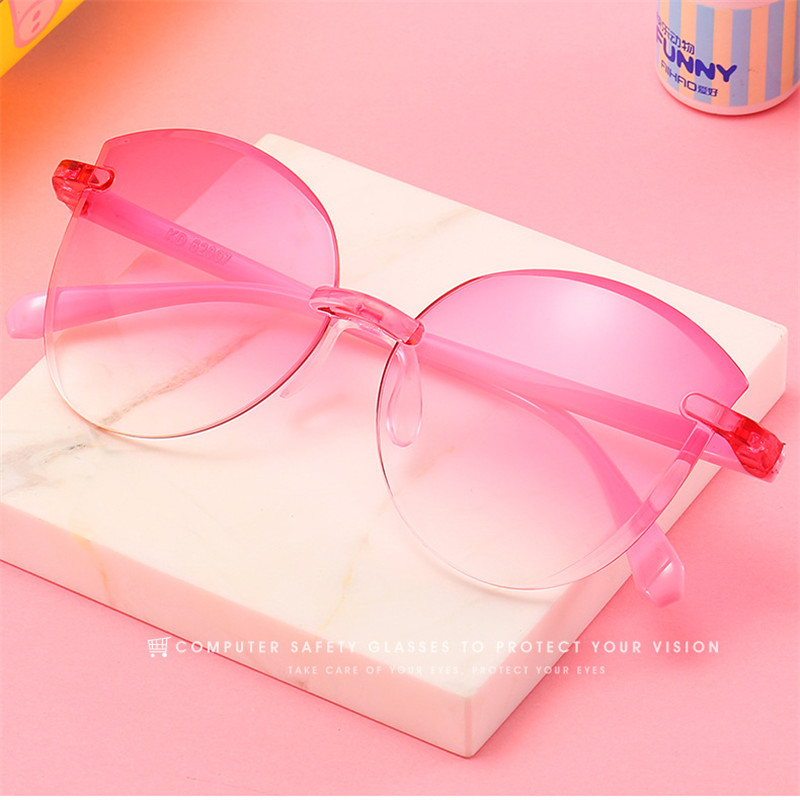 Fashion Colorful Plastic Rimless Children Sunglasses Vintage Classic Pink Kids Sunglass Gradient Boys Girls Sun Glasses UV400