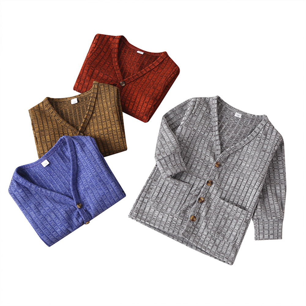 0-3Y Newborn Baby Unisex Kid Top Jacket Coat Knitted Sweater Solid Single Breasted Autumn Outfit Clothes