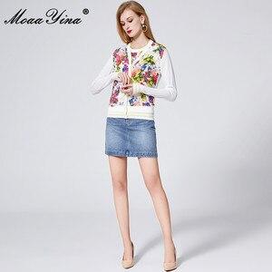 Image 3 - MoaaYina Lente Herfst V hals Lange mouwen Breien Tops vrouwen Elegante Bloemen Print Zijde Trui Dunne Jas