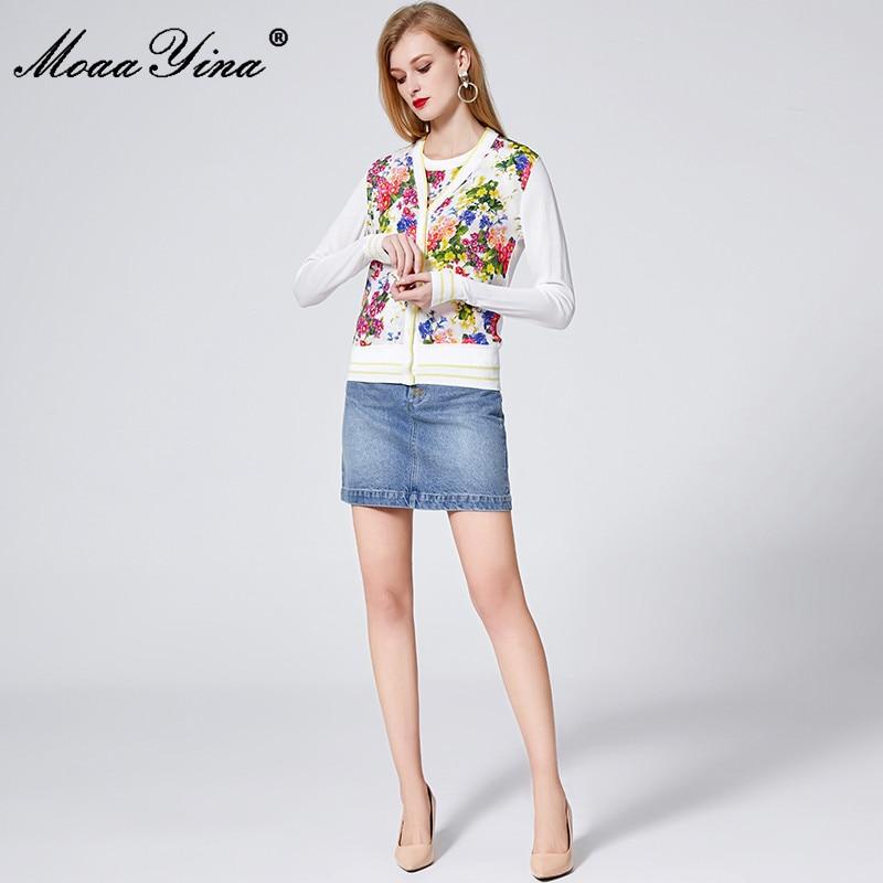 Image 3 - MoaaYina Spring Autumn V neck Long sleeve Knitting Tops Womens  Elegant Floral Print Silk Sweater Thin CoatCardigans