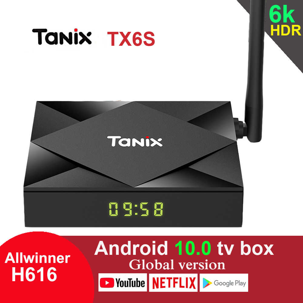Tanix TX6Sทีวีกล่องAndroid 10.0 Allwinner H616 Quad Core 4GB 64GB 2.4G/5G wifi Youtube 6K HDR Google TX6สมาร์ทMedia Player