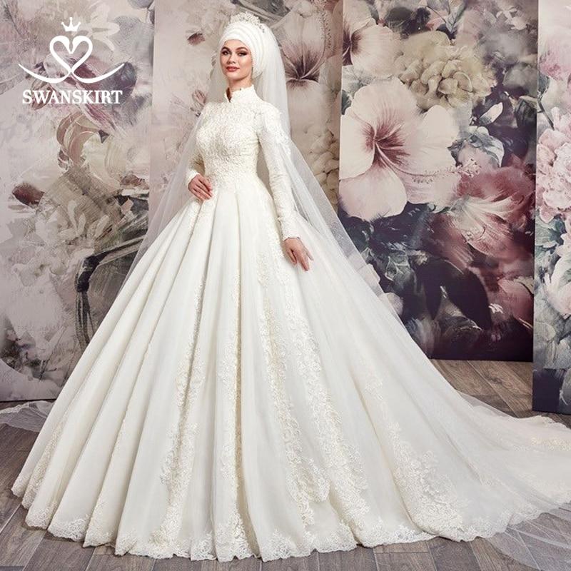 Luxury Muslim Appliques Wedding Dress 2019 Swanskirt Vintage Princess Ball Gown Long Sleeve Bridal Gown Vestido De Noiva AX36