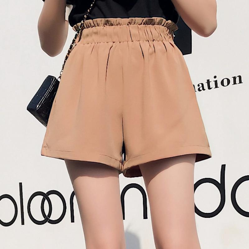 Summer High Waist Chiffon Shorts Women 2020 Summer Fashion Loose Ruffles Elastic Waist Korean Ladies Shorts Casual Streetwear