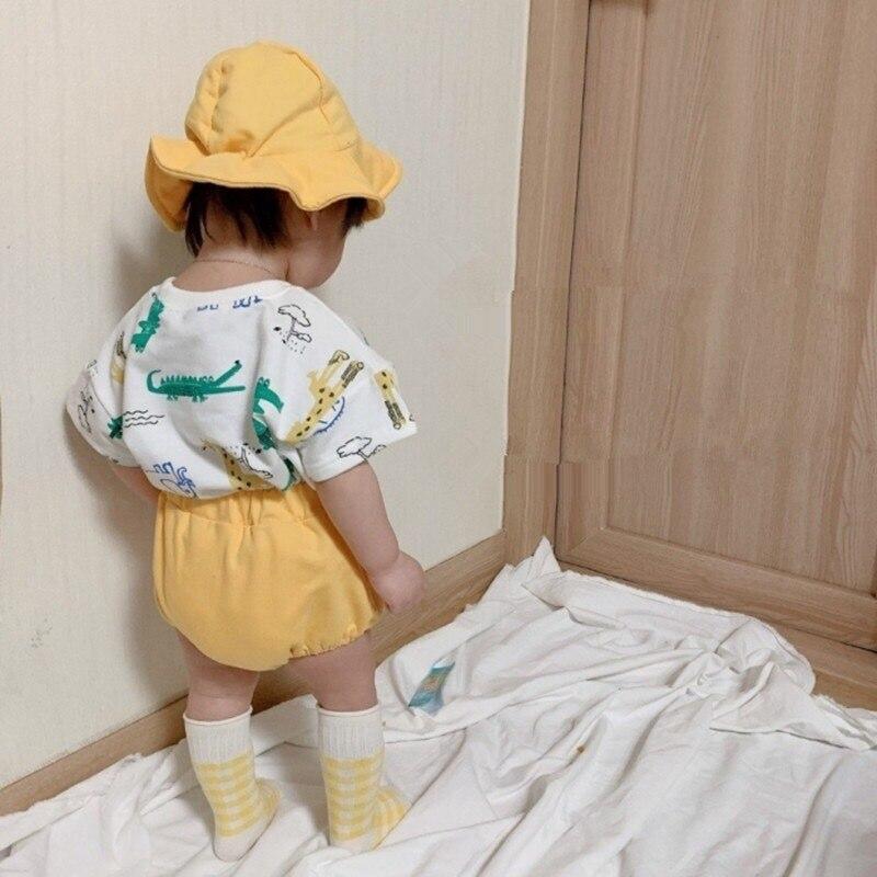 Summer Baby Set New Cartoon Printing Sports Casual Short Sleeve T-shirt Shorts Set + Hat Baby Girl Clothes