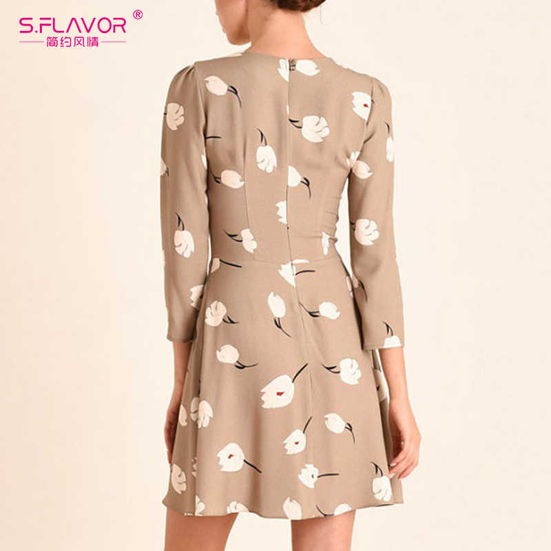 S. FLAVOR 2020 wiosna lato Mini sukienka dla kobiet O-neck rękaw 3/4 szczupła sukienka trapezowa kwiatowy drukowane kobiety Casual Dress