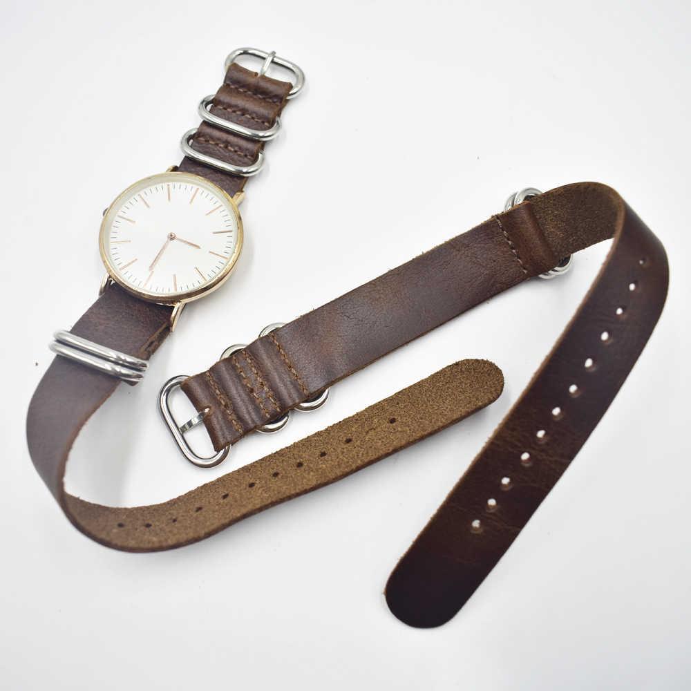 Onthelevel couro genuíno otan zulu cinta 18mm 0mm 22mm 24mm substituição pulseira com cinco anéis # d