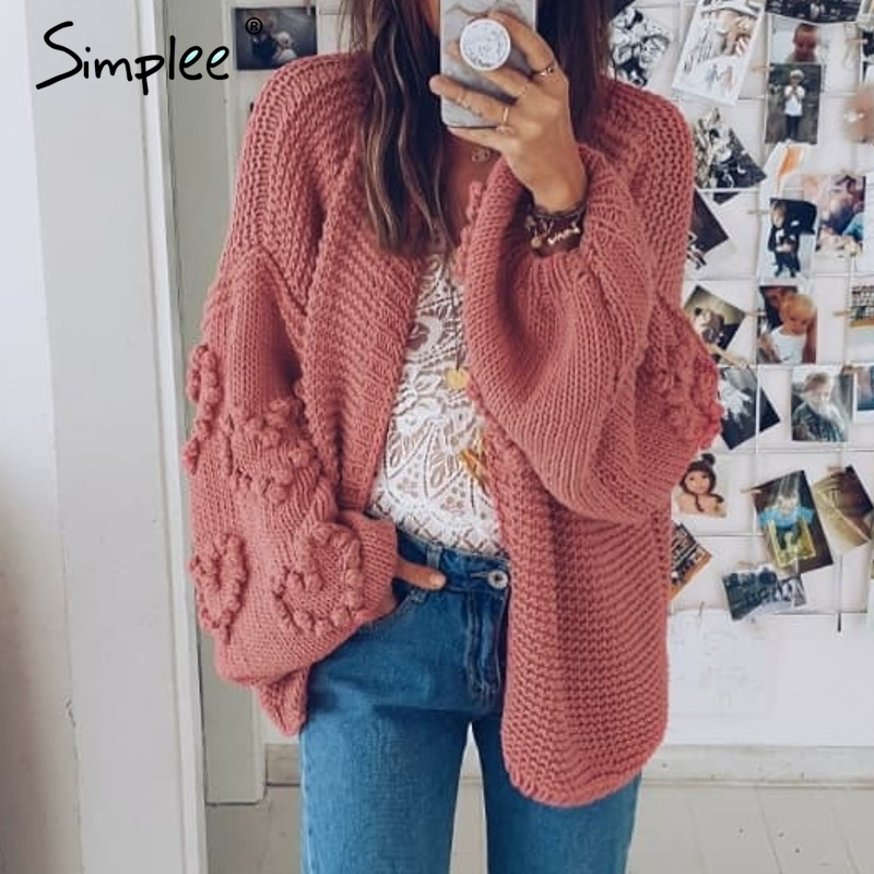 Simplee Loose Women Knitted Cardigans Oversized Lantern Sleeve Heart Crochet Jumper Autumn Winter Female Knitting Cardigan Coats