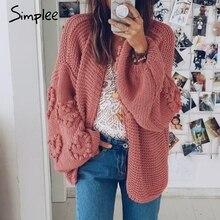 Simplee luźne damskie kardigany z dzianiny ponadgabarytowe latarnie rękaw serce szydełkowe swetry jesienno zimowe damskie dzianinowy kardigan płaszcze