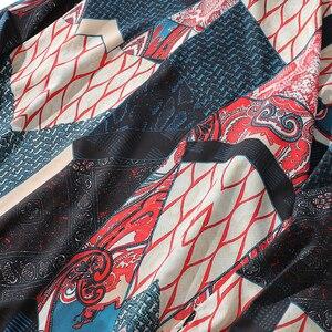 Image 4 - Aelfric Eden Herfst Japanse Ukiyo Geometrische Patchwork Lange Mouw Shirts 2018 Hip Hop Casual Streetwear Mannen Vrouwen Shirt Kj169