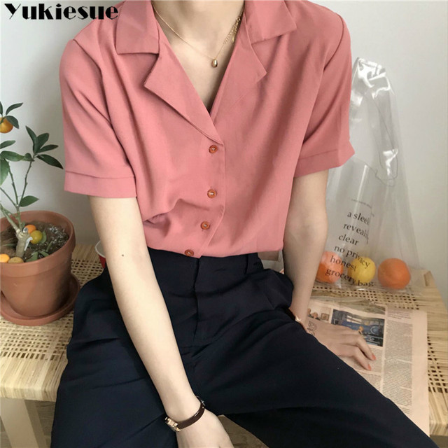 Casual Solid Female Shirts Outwear Tops 2020 summer short sleeve  Women Chiffon Blouse Office Lady V-neck Button Loose Clothing 2