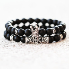 2Pcs/Set Crown Skull Bracelet Men Women Classic Vintage Style Matte Beads Stone Homme Anchor Charm Bracelet For Couples Jewelry