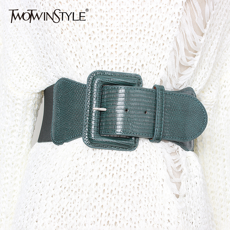 TWOTWINSTYLE Korean Style High Waist Belts For Women Slim Elastic Dresses Accessories Belt Female 2020 Summer Fashion New