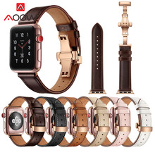 Genuine Cow Leather Band for Apple Watch 4 5 40mm 44mm 38mm 42mm Oil wax Leather Rose Gold Butterfly Buckle Strap for iwatch 123