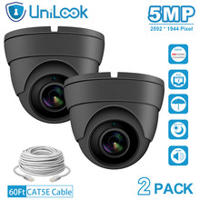 UniLook 5MP POE IP Camera outdoor Audio Built in Microphone Hikvision IP CCTV Security Turret Dome Camera H.265 2PACK Grey dahua 6mp stellar bullet outdoor ip camera ipc hfw4631k i6 h 265 ir 150m built in 6leds ip67 poe security cctv camera