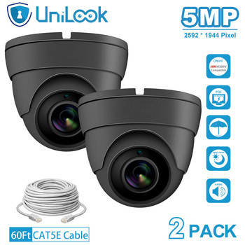 UniLook 5MP POE IP Camera outdoor Audio Built in Microphone Hikvision IP CCTV Security Turret Dome Camera H.265 2PACK Grey цена 2017