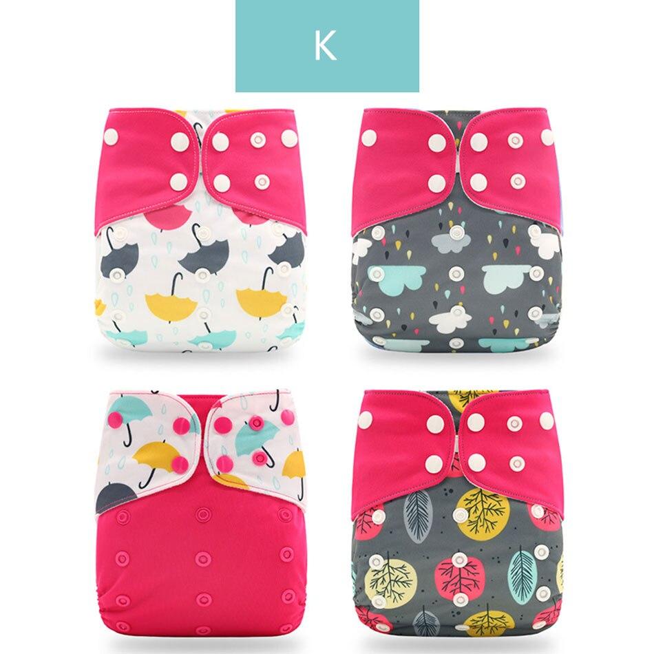 Happyflute 4 шт./компл. моющиеся экологически чистые тканевые подгузники; регулируемый пеленки Многоразовые подгузники из ткани подходит 0-2years, на Возраст 3-15 кг для малышей - Цвет: K only diaper