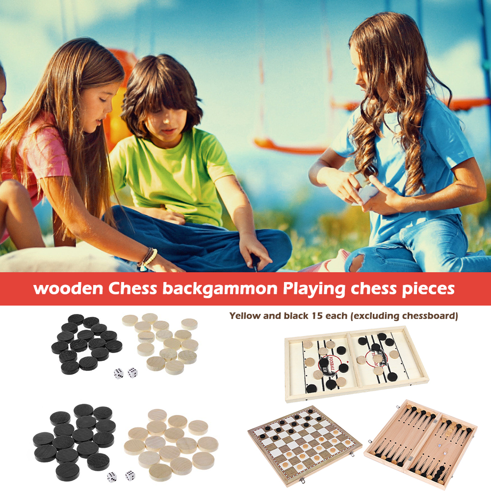 30pcs Wooden Draughts Checkers Backgammon Chess Pieces for Kid Board Game 2 Dice No Chessboard Intelligence Games