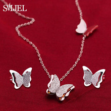 SMJEL Stainless Steel Butterfly Necklaces for Women Cute Animal Pendants Choker Girls Kids Fashion Jewelry Gift boucle d'oreille