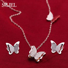 SMJEL – colliers en acier inoxydable pour femmes, pendentifs animaux mignons, ras du cou, filles, enfants, bijoux à la mode, cadeau, boucle d'oreille
