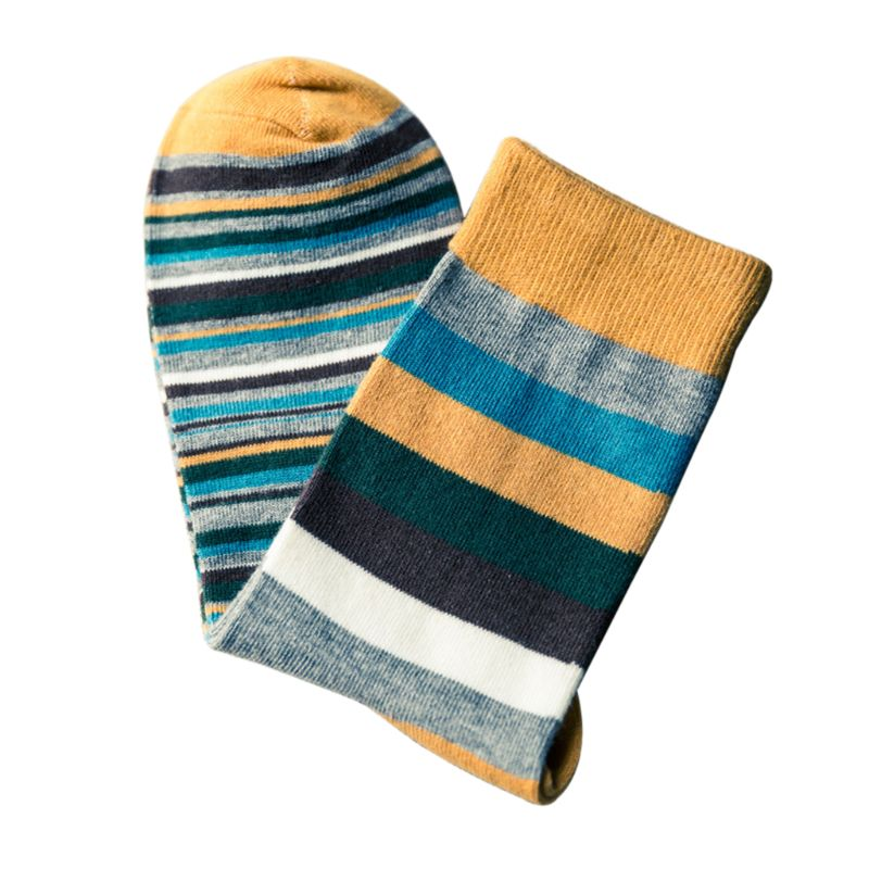2020 New Men Boys Contrast Color Block Striped Long Crew Socks Cotton Ribbed Knit Winter