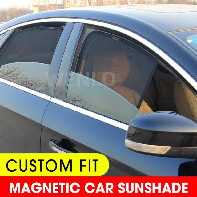 Magnetyczny samochód boczna szyba okulary przeciwsłoneczne pokrycie siatki dla Honda CRV HRV XRV URV Elysion VEZEL Crosstour Avancier Jade osłony przeciwsłoneczne na szyby samochodowe tanie i dobre opinie wenlo Polyester For Honda Black Side Window Sunshades Car front window sunshade Car windows sunshade Mesh on car window