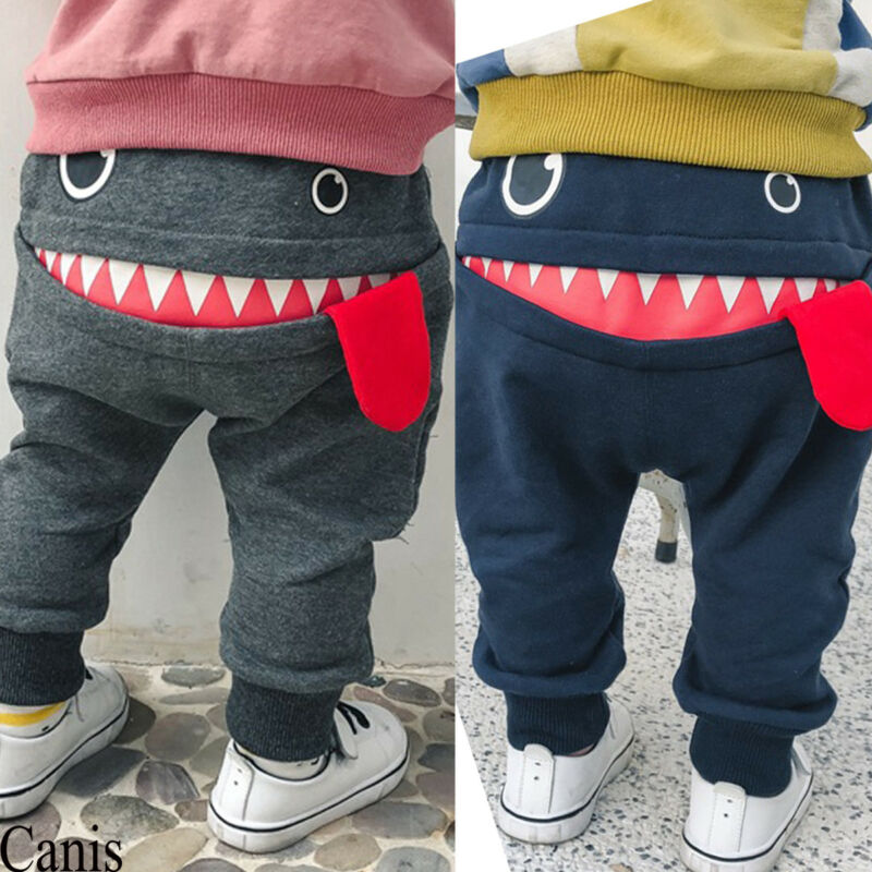 Toddler Boys Girls Cute Big Mouth Monster Trousers Costumes Long Cototn Infant Cartoon Panty Clothes Bottom Leggings Trousers