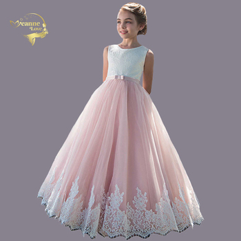 Elegant Flower Girl Dress for Wedding Kids Sleeveless Lace Tulle Pageant Ball Gowns Long Princess Dresses Girls Party Dresses chaffare beading girls dress elegant kids party dresses for wedding formal tulle girl princess vestido pearls flower baby frocks