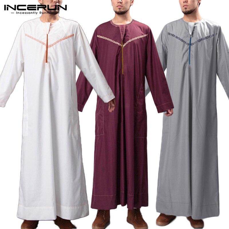 INCERUN Men Islamic Kaftan Printed Arab Muslim Clothes Round Neck Long Sleeve Loose Robes 2020 Fashion Men Jubba Thobe Plus Size