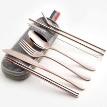 食器セット旅行キャンプカトラリーセット再利用可能な銀器金属わらスプーンフォーク箸とポータブルケース