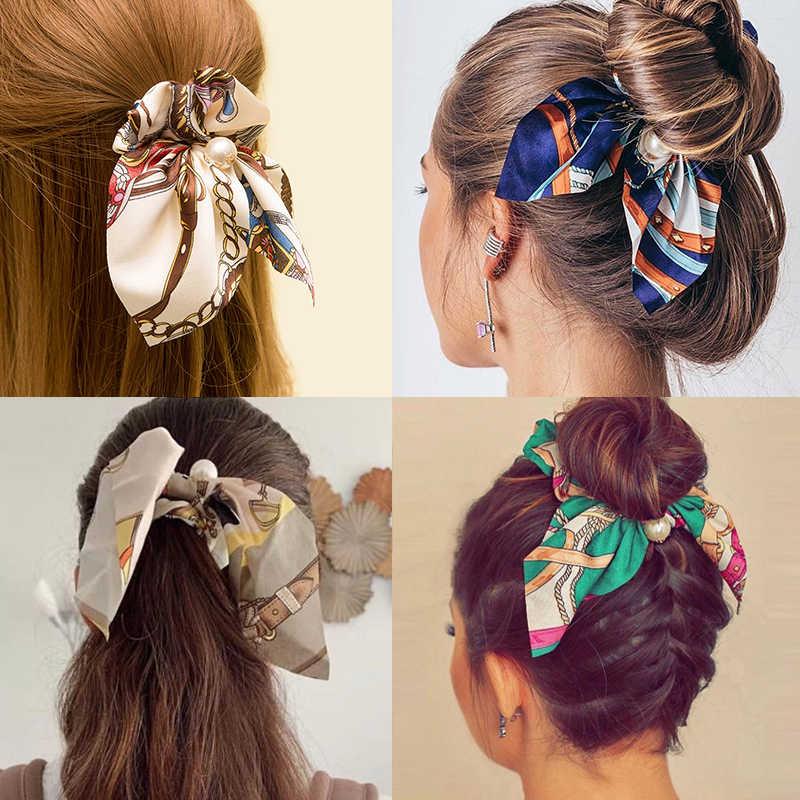 Novo chiffon bowknot elástico faixas de cabelo para mulheres meninas pérola scrunchies bandana laços de cabelo titular rabo de cavalo acessórios para o cabelo