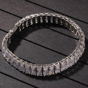 Image 5 - Квадратный Теннисный браслет с кубическим цирконием 9,5 мм, ширина 8 дюймов, никогда не выцветает, нержавеющая сталь, кубический цирконий с микрозакрепкой, хип хоп, ювелирный браслет мужской