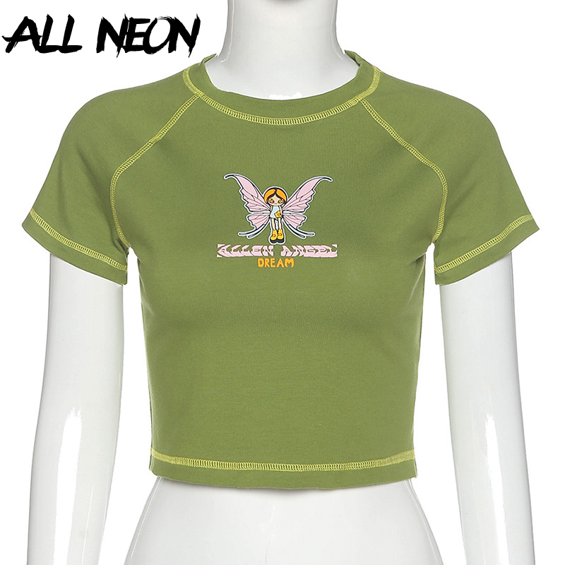 ALLNeon E-girl Butterfly Graphic and Letter Printing Stitch Green Crop Tops Y2K Summer Grunge Style O-neck Short Sleeve T-shirts 5