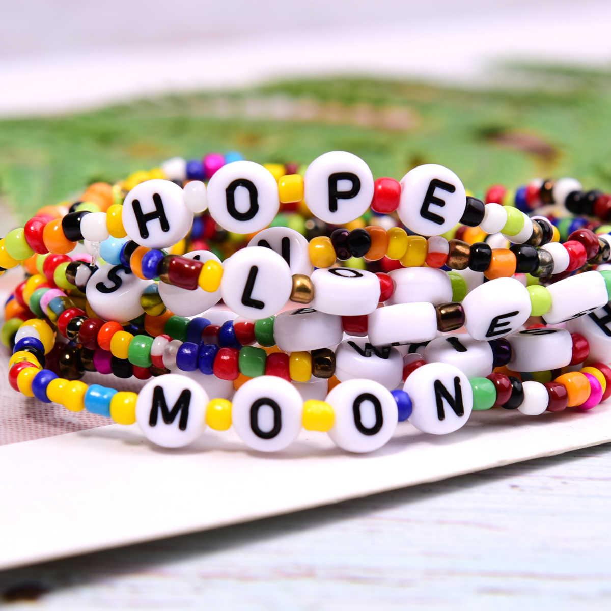 ดวงจันทร์ที่มีสีสันลูกปัด Charm สร้อยข้อมือยืด Hope Bless Boho Chic มิตรภาพ Pulseras Femme เครื่องประดับ