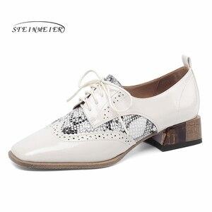 Image 2 - נשים קיץ עור נעלי אישה מבטא אירי דירות גברת נעלי בציר סניקרס שרוכים אביב נעליים יומיומיות עבור נשים 2020