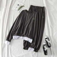 Mooirue Autunno 2 Pezzi Tuta Donne M-4XL Plus Size Vintage Harajuku Ricamo Sport Set Coreano Streetwear Donne Abiti