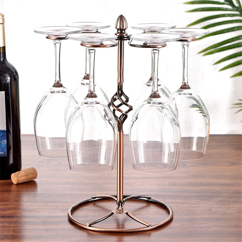 Rotate Hanging Wine Glass Racks Holder Champagne Stemware Holder Wrought Iron Wine Rack Bar Glasses Storage Rack