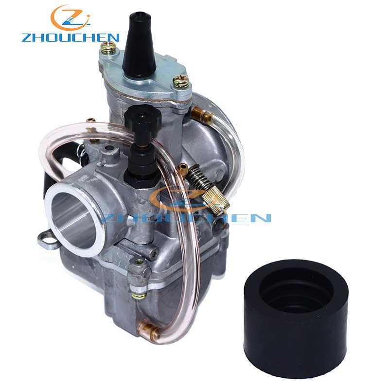 JFG RACING PWK Carburateur 21 mm pour Moto Hors-Route Honda Yamaha Suzuki Kawasaki K.T.M 50 CC 65 CC 75 CC 80 CC 100 CC Noir