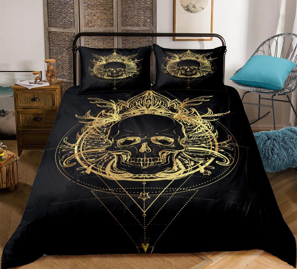 3-piece Gold Skull Bedding Set Boho Print Black background Duvet cover set Adult Bedclothes Dropship Home textiles