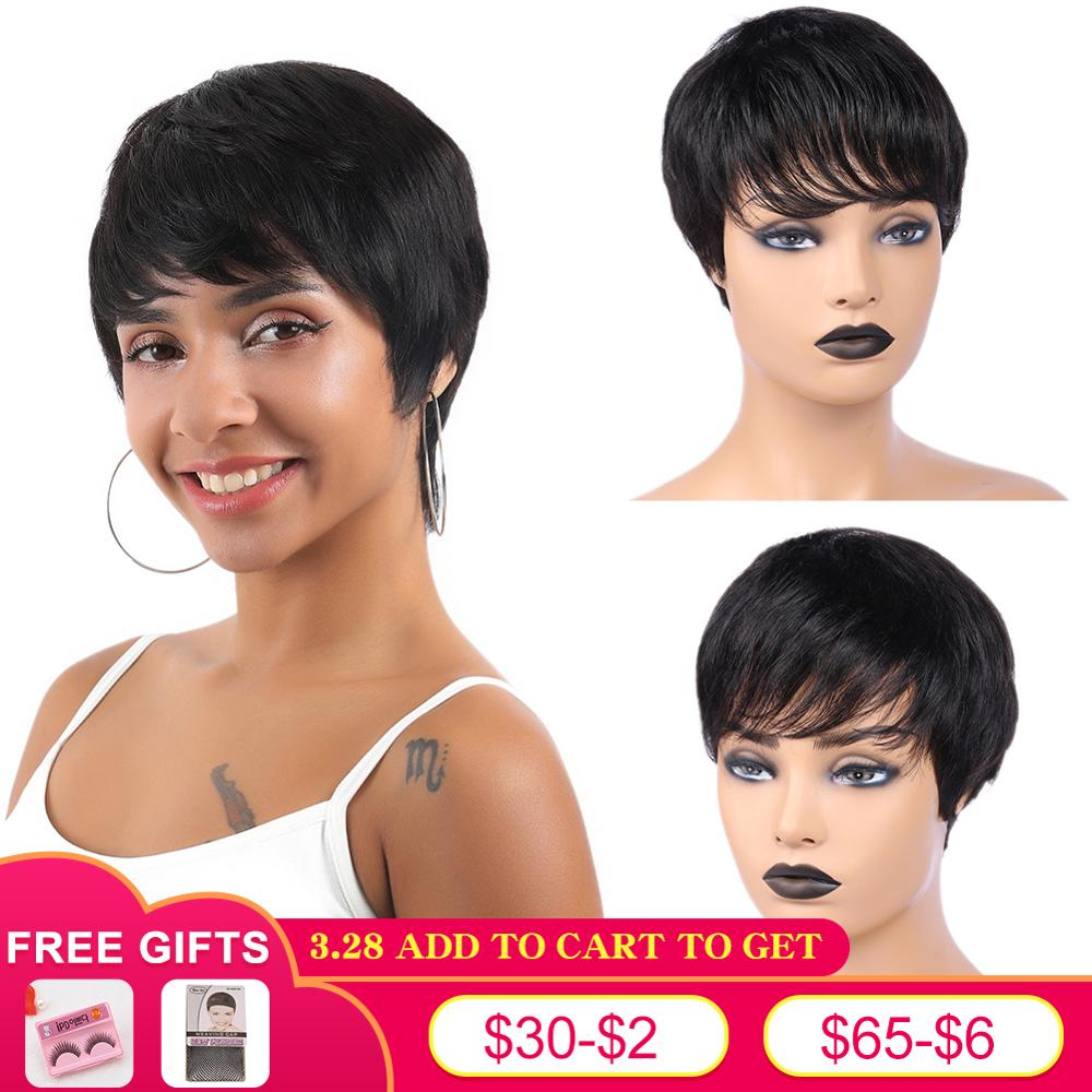 FAVE Pixie Cut Wig Short Human Hair Wigs Brazilian Remy Straight Wig Natural Black With Bangs Mature And Capable Hairstyle Wig