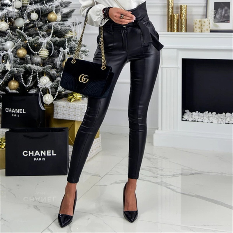 InstaHot Gold Black Belt High Waist Pencil Pant Women Faux Leather PU Sashes Long Trousers Casual Sexy Exclusive Design Fashion 18