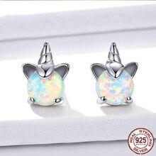 Tianzhe takı 100% 925 ayar gümüş tek boynuzlu at opal küpe kadın düğün küçük küpe moda yıldönümü takı